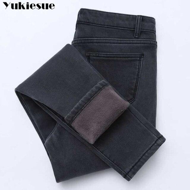 جينز نسائي شتوي موضة 2019 برغوث ذهبية اللون وسراويل دينم سميكة بخصر عالٍ بناطيل دافئة جينز نسائي سروال نسائي مقاس كبير