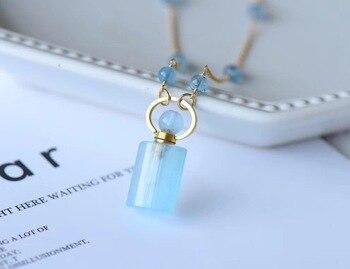 Natural Blue Aquamarine Pendant Necklace For Women Men 27x12mm Bottle Design Beads 14K Gold Chain Healing Stone Jewelry AAAAA
