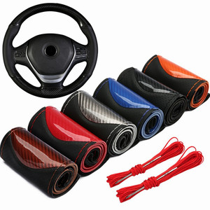 Crystal Carbon Fiber Fashion Sports Hand-stitched Steering Wheel Cover Car Wheel Cover Non-slip Leather Braid For Steering Wheel