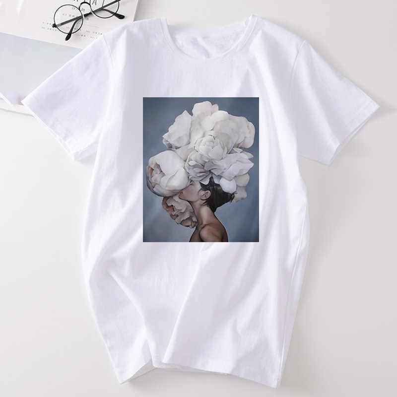 נקבת חולצה Harajuku אסתטי נוצת פרחי הדפסת אופנה נשים של T חולצה קצר שרוול טי חולצה מקרית נשים של חולצה