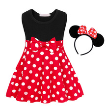 AmzBarley Girls Mini dress Sleeveless Casual Dress Toddler girls Bowknot Dot Cotton clothes party outfits for 3 -10 years