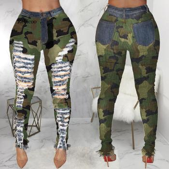 Long High Waist Ripped Jeans For Women  Stylish Camouflage Printed Skinny Elastic Jeans Female Camo Hole Denim Pencil Pants lucky star white female elastic new arrival jeans printing slim denim trousers elastic long stylish printed jeans plus size d234
