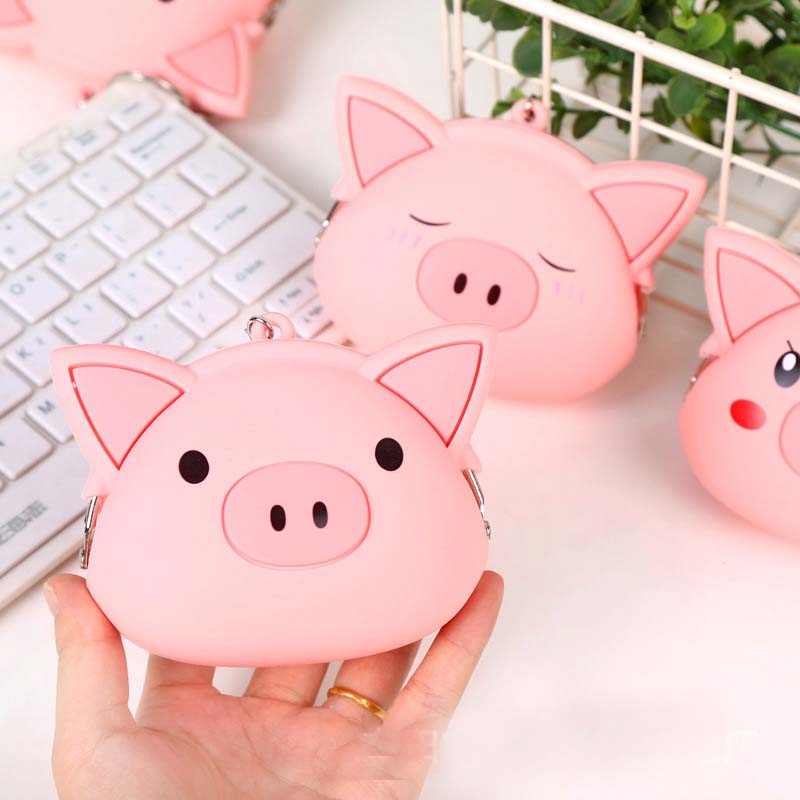 Lovely Kawaii Pink Pig Cartoon Animal Women Girls Wallet Multicolor Jelly Silicone Coin Bag Purse Keychain Kid Gift