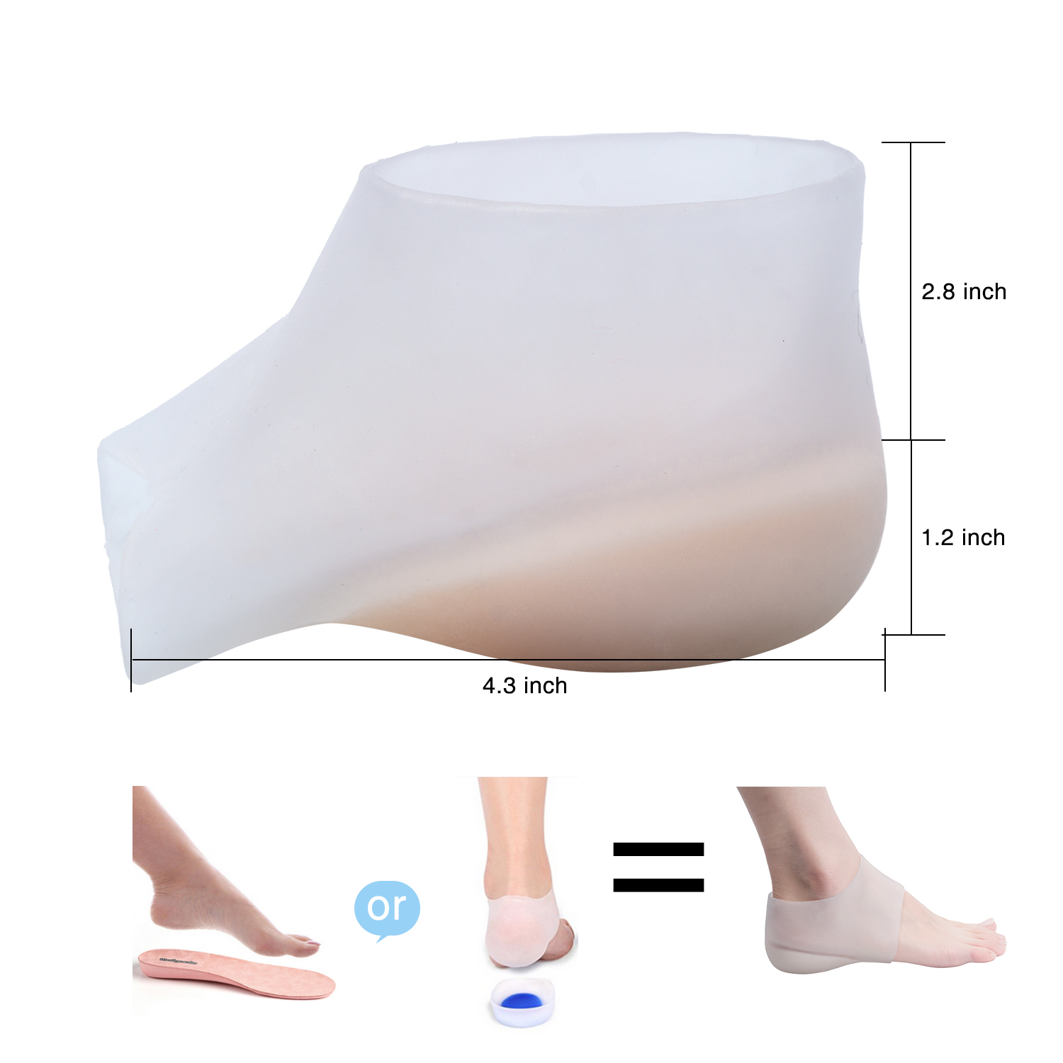 1.2inch Height Increase Silicone Half Insole Insert Invisible Heightening Pad  Anti-crack Foot Heel Protector Unisex Feet Care