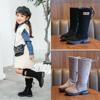 Girls Mid Boots Black Soft And Comfortable Fashion Shoes Suede Low-heel Breathable Round Toe Casual Boots 27--37 Number haraval handmade winter woman long boots luxury flock round toe soft heel shoes elegant casual warm retro buckle solid boots 289
