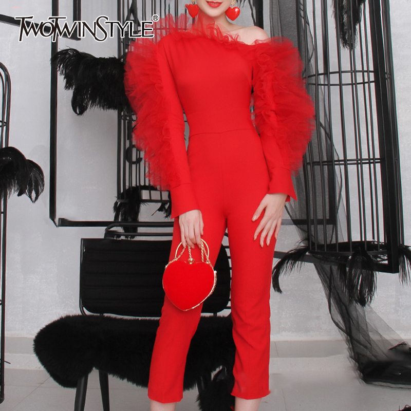 TWOTWINSTYLE Patchwork Mesh Ruffle Slim Women's Jumpsuits Skew Collar Long Sleeve One Shoulder Jumpsuit Female 2019 Fashion Tide