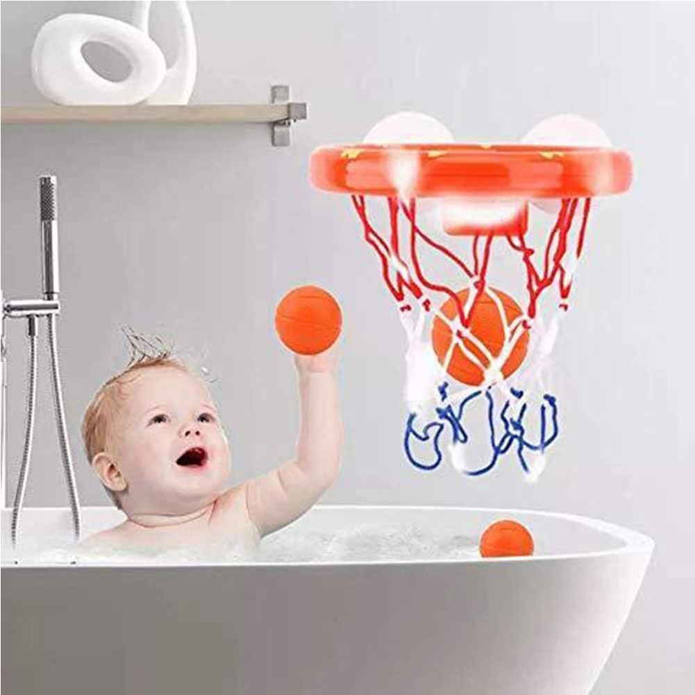 Bath Toys Kids Suctions Cups Plastic Bathtub With Hoop Balls Mini Children Shooting Game Toy Set Basketball Funny