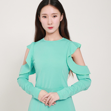 HDY Haoduoyi Femme Stylish Sweet Round Collar Ruffles Hollow A-Line Off-the-shoulder Long Sleeve Midi Party Dress Elegant