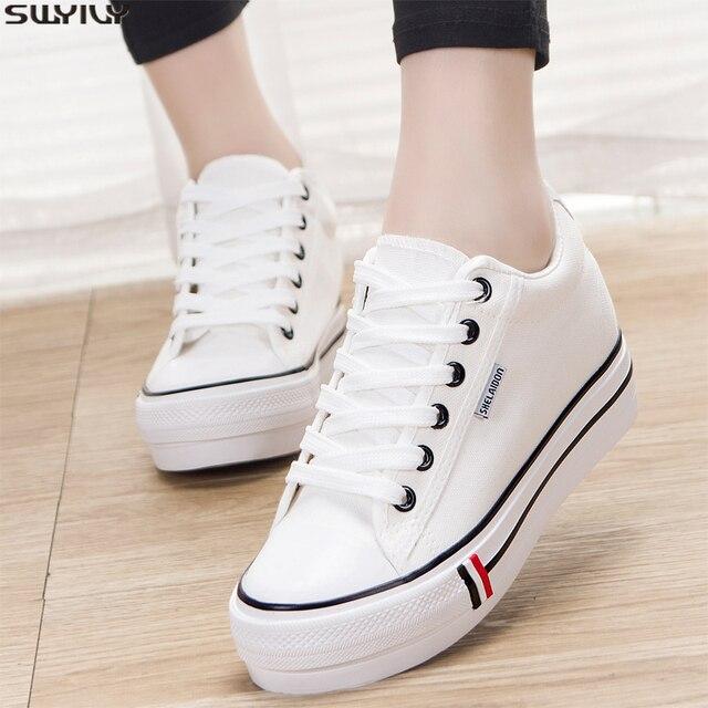 SWYIVY حذاء بكعب ويدج امرأة حذاء قماش أحذية رياضية منصة الصلبة جديد 2020 الربيع أحذية رياضية مكتنزة للنساء الخياطة السيدات الاتجاه الأحذية