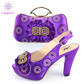 Latest Nigerian Wedding Bag and Shoes Set Luxury Woman Shoes and Bag Set Decorated with Rhinestone Luxury Shoes Women Designers