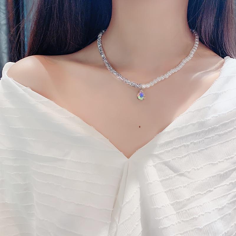 New Style Pearl Zircon Necklace For Women Korea Clavicle Chain Shiny Choker Pendant Fashion Jewelry Wedding Birthday Gift 2020