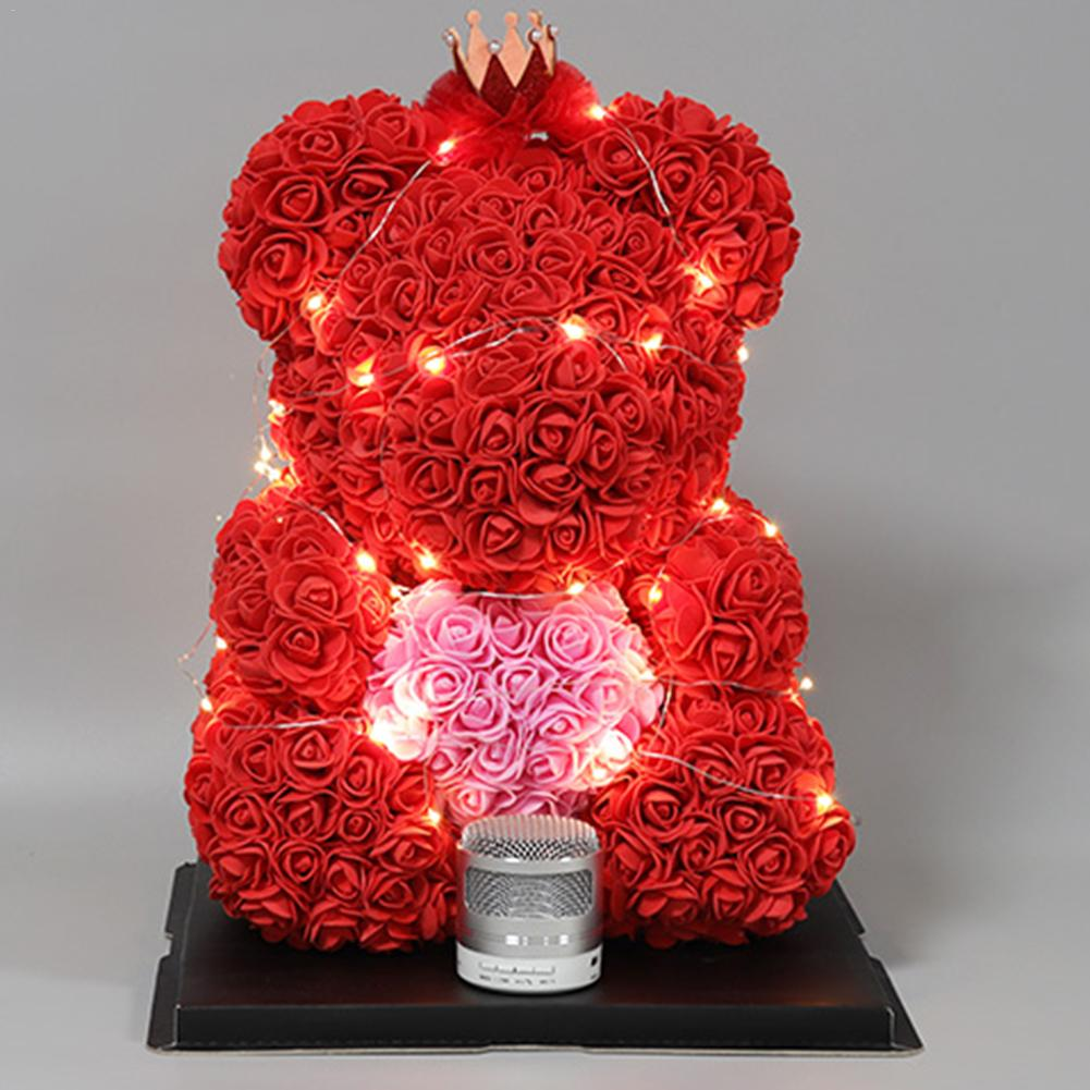 Special Nana Birthday Gifts Glass Teddy Bear In Red Flower Ornaments Rose Box