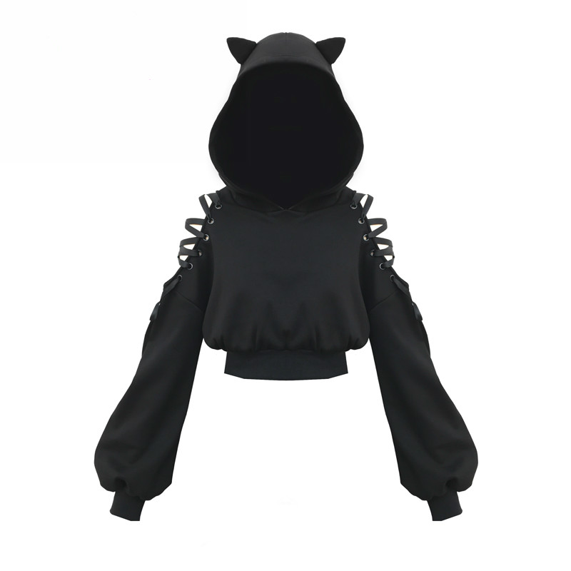 Harajuku Cat Ear Hoodies Sweatshirt Women Gothic Hoodies Autumn Winter Plus Velvet Hollow Out Lace Up Long Sleeve Cute Hoodies