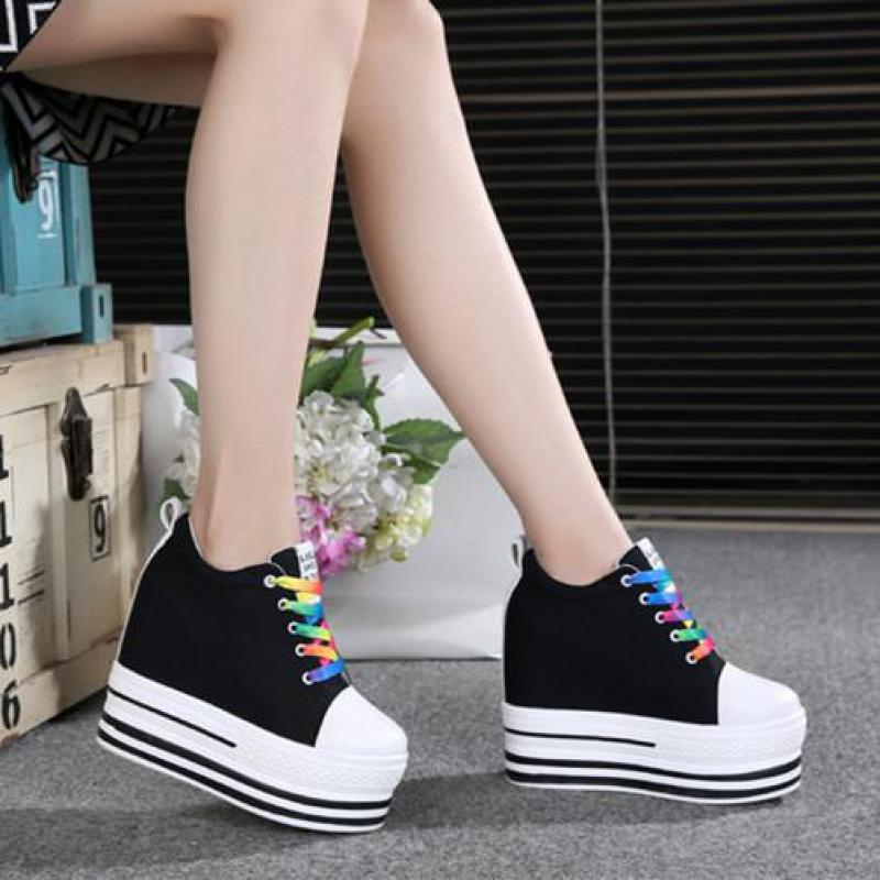 Women's Shoes Sneakers High-Heels Lace-Up Fashion Ladies New Spring Casual British-Style