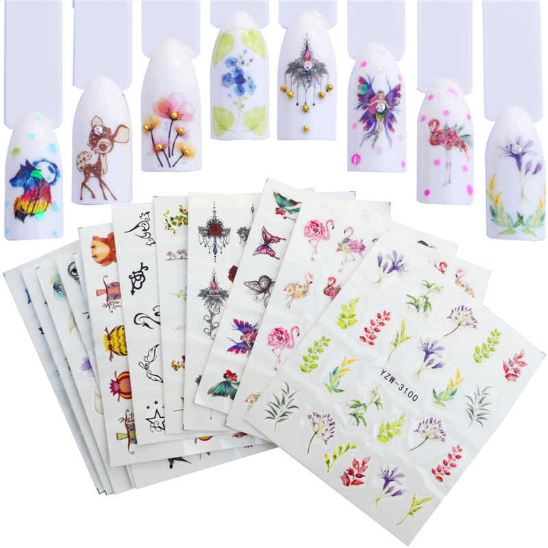 WUF 12PCS Nail Water Sticker Decals Mix Lace Flower Flamingo Animal Full Wraps Nail Tattoo Adhesive Manicure Decor Tips Set