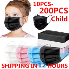 In Stock! 10-200pcs Masks Disposable Face Mask 3 Layer Children's Mask Filter Dust Mouth Mask Kids Child Earloop Protective Mask