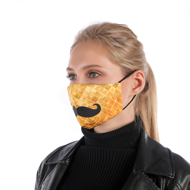 Zohra Moustache Printing Reusable Protective PM2.5 Filter mouth Mask anti dust Face mask bacteria proof Flu Mask 1
