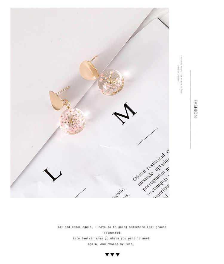 Rõ Ràng Trong Suốt Bóng Bông Tai Vàng Màu Sequin Hạt Tòn Ten Treo Bông Tai Nữ Thời Trang Hoa Khô Trang Sức Cưới Earings
