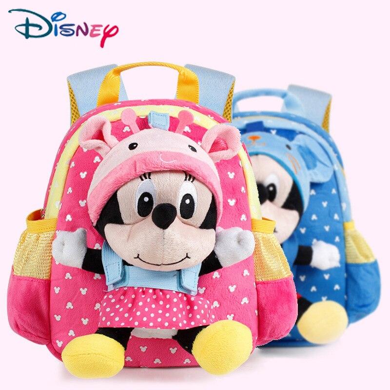 Disney 1-3Year Plush Cartoon Minnie School Bag For Girl Kindergarten Minnie Schoolbag Cute Kids Backpacks Children's Backpack