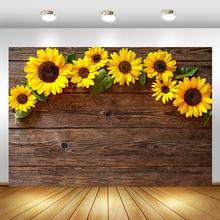 Słonecznik drewniane tło fotograficzne z podłogą tło Flarol na urodziny i bociankowe fotografowanie tła wystrój dla Photo Studio