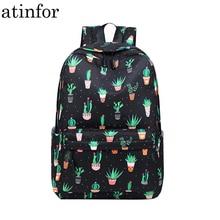Atinfor Merk Waterdichte Nylon Lichtgewicht Cactus Afdrukken Rugzak Vrouwen 16.5 Inch Midden School Student Boek Tas