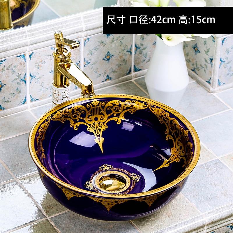 Europa Vintage Stijl Keramische Kunst Wastafels Aanrechtblad Wastafel Badkamer Wastafels Blauwe Keramische Kunst Wastafel Basin Bathroom Sink Setbasin Strainer Aliexpress