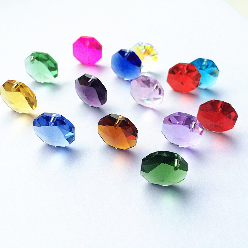 Top Quality 20pcs Multicolor 14mm Crystal Octagonal Beads In One Hole K9 Crystal Chandelier Parts Accessories DIY Wedding & X-tr