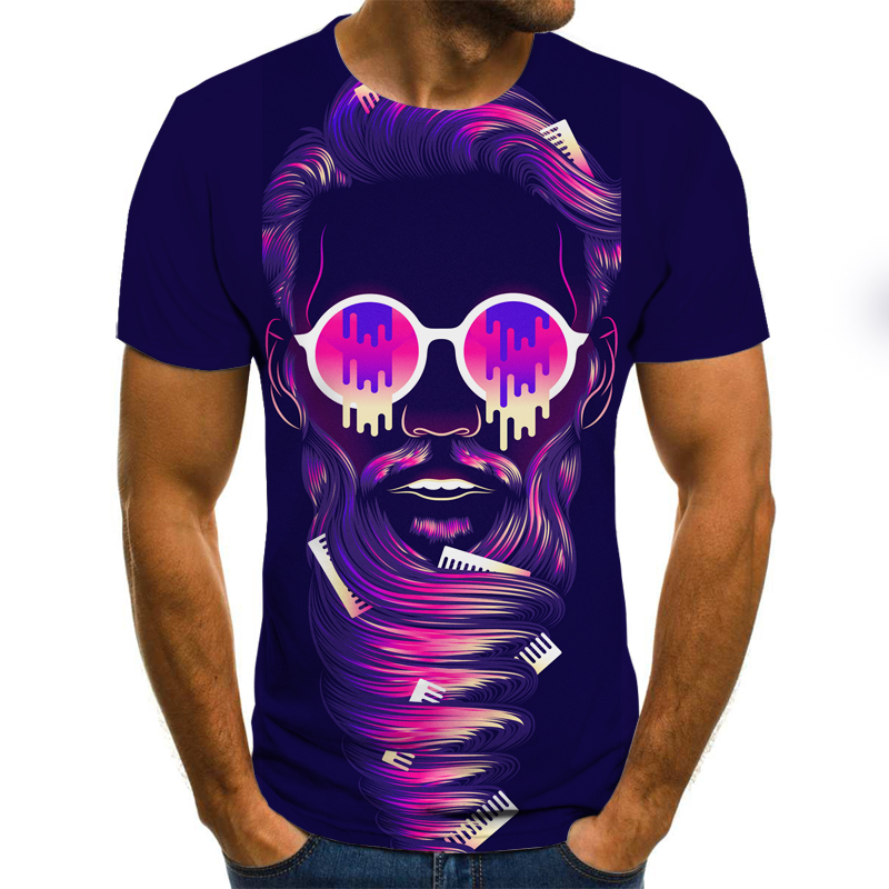 Horror Ghost Theme Men's T-shirt Trendy Streetwear Tops 3D Printed Fashion Short Sleeve Summer Round Neck Casual Shirt