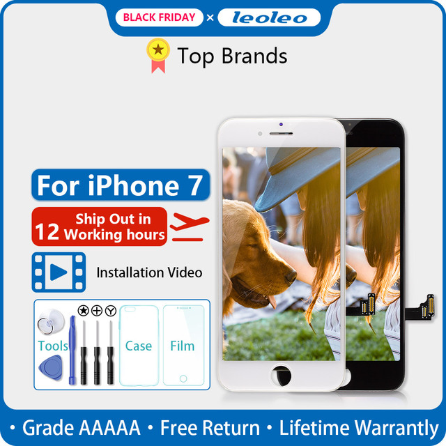 LEOLEO 10pcs/lot White&Black Quality AAAAA Brand New For iPhone 7 7G i7 4.7 LCD Display Touch Screen Digitizer Assembly+Gift