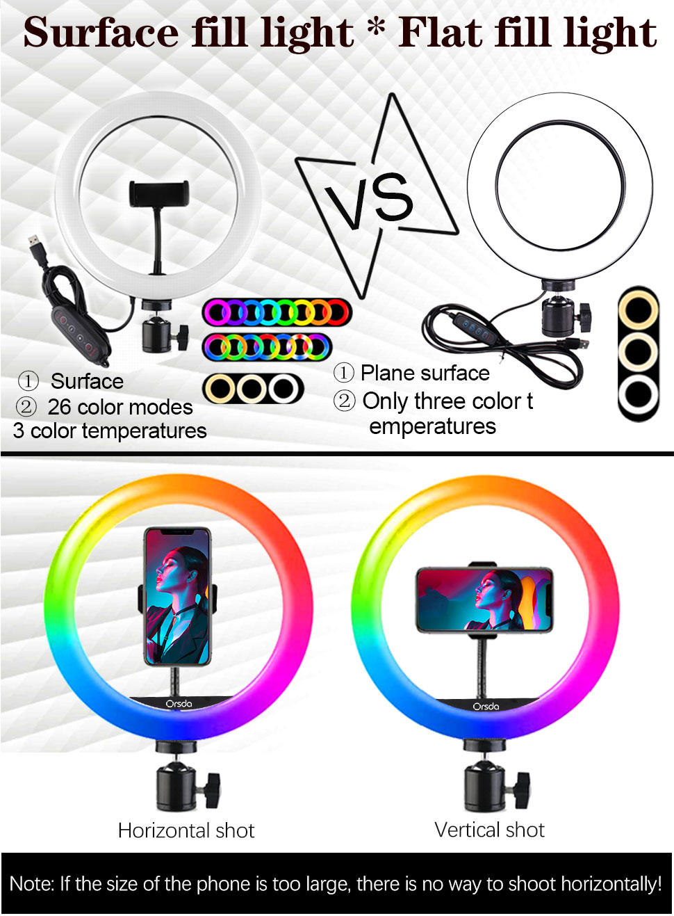 Hd8329d5f4bd14926be5ecb4d897dd0a6P Orsda 10-13 Inch RGB Ring Light Tripod LED Ring Light Selfie Ring Light with Stand RGB 26 Colors Video Light For Youtube Tik Tok