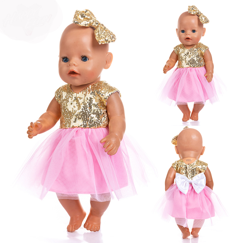Gold Shine  Dress Doll Clothes Born  Babies Fit 17 Inch 43cm Doll Accessories For Baby Festiival Gift