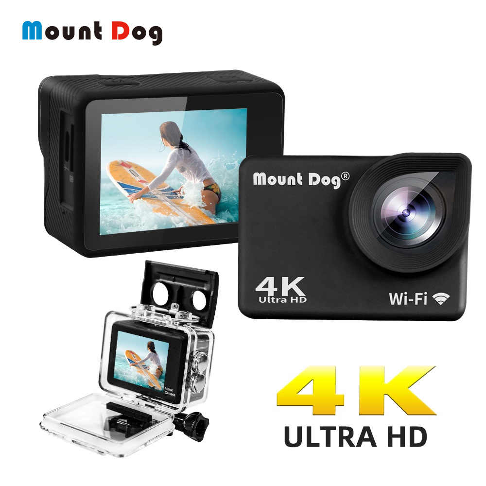 "Mountdog 2.0 ""HD 4K Tahan Air Olahraga Kamera Aksi Video 30fps 170 Derajat Bawah Air Pergi Sport Cam Rekaman Video WIFI Pro Kamera"