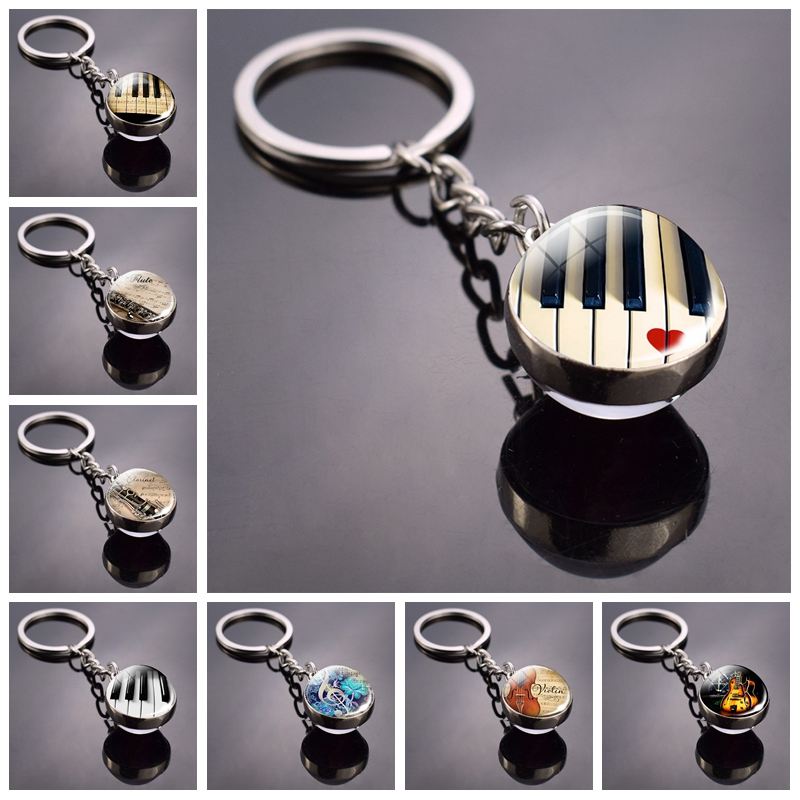 Piano Keychain Music Instruments Cleft Picture Glass Ball Key Chains Guitar Clarinet Flute Violin Pendant Keyring Dropshipping