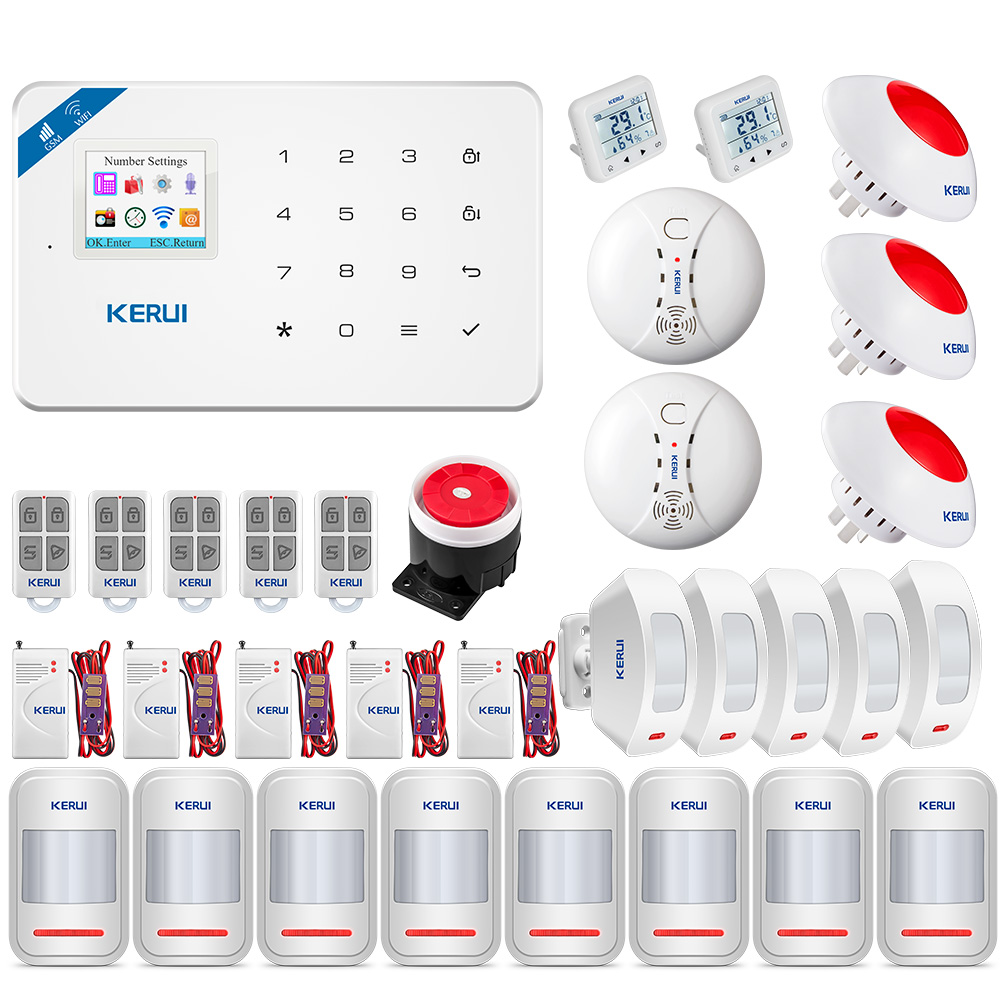 KERUI Home Protection Alarm System W18 Wireless WIFI Connection GSM Alarm System PIR Motion Detector APP Control Alarm Kit