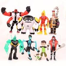 9 peças ben 10 novo protetor de alta qualidade da terra família figuras de ação brinquedos frete grátis pvc 3-12cm