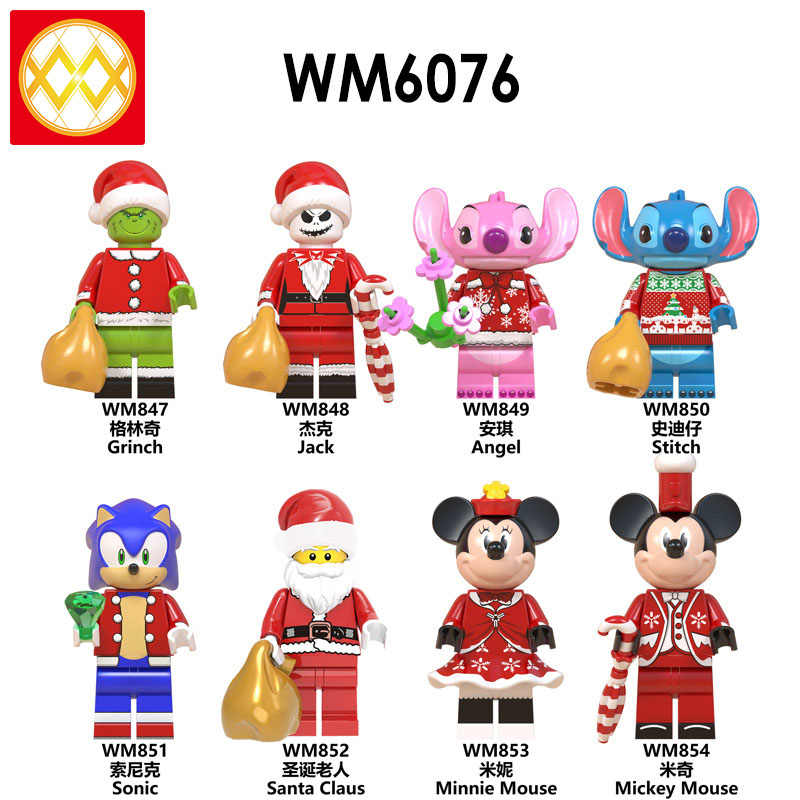 Grinch Jack Angel Stitch Sonic Christmas Santa Claus Minnie Mouse Mickey Mouse Christmas Building Figures Blocks Toys Store