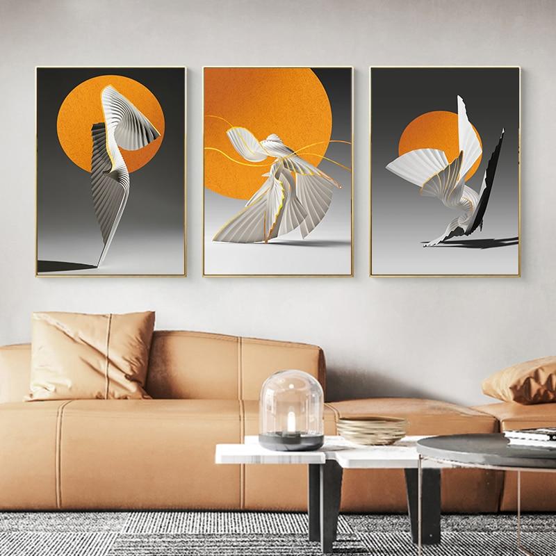 Оранжевый солнце Холст плакат Творческий абстрактный настенный художественный Рисунок скандинавские плакаты и принты настенные картины для гостиной домашний декор