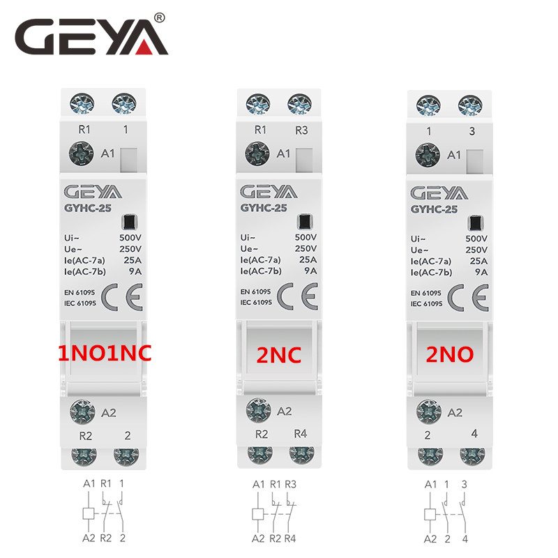 GEYA Din Rail Mounted Household Modular AC Contactor for Smart Home House Hotel AC220V 2P 16A 20A 25A 2NC 2NO 1NO1NC 50/60Hz