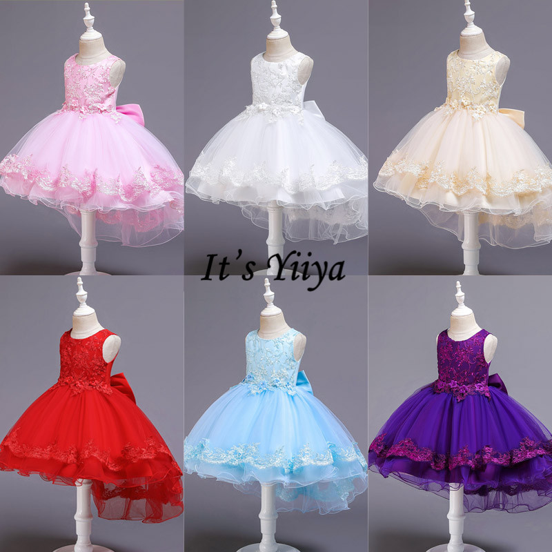 It's Yiiya Flower Girl Dress Bow Lace Weddings Elegant Kid Party Gowns O-neck Pink Blue Communion Dresses For Girls 2019 188