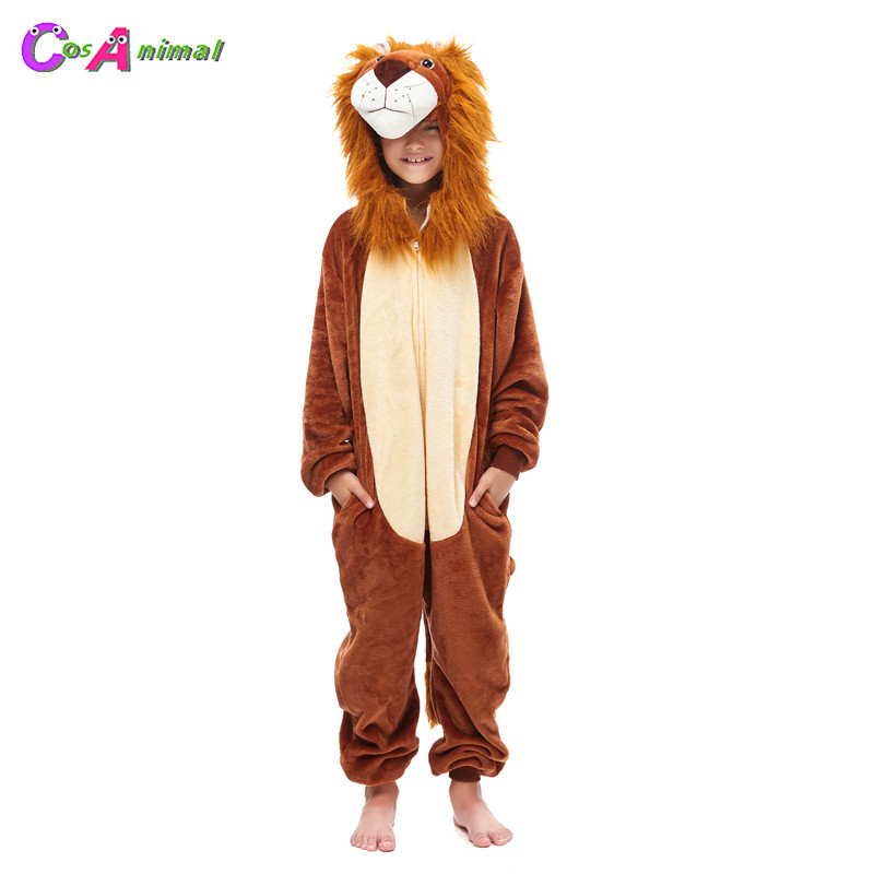 Children's Lion King Kigurumi Kids Onesies Pajamas Baby's Cosplay Costumes For Halloween New Year Carnival Party