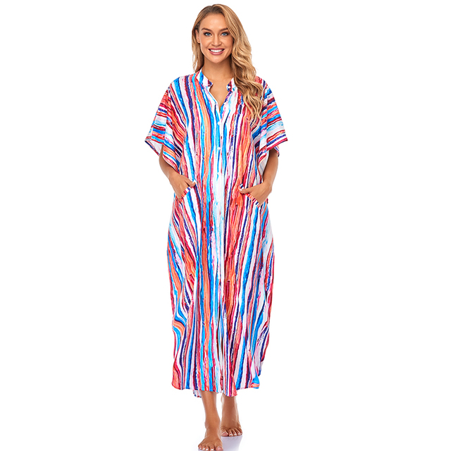 Cover-ups 2021 Kaftan Beach Print SnakeSkin Swimsuit cover up Kimono Plage Beach Robe Femme Long Dress Sarong Dress Beachwear 3