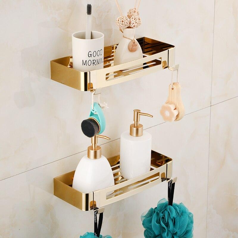 Bathroom Shelf Bath Storage Holder Wall Mounted Gold  Stainless Steel Square Bath Shower Shelf Bath Shampoo Holder Corner Shelf