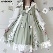 Female Dress Japanese Lolita Cute Long-Sleeve Soft Girl Bow OP Cosplay MAGOGO College-Style