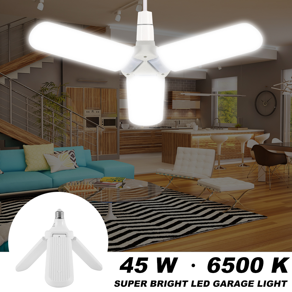 LED Folding Three-leaf Bulb Garage Light 45W E26/E27L Super Bright Fan Light Blade Angle Adjustable Household Energy Saving Lamp