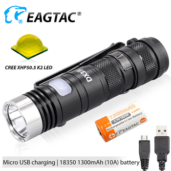 EAGTAC DX3B RC PRO USB Перезаряжаемый XHP50.2 2500LM супер мощный светодиодный карманный мини фонарь EDC лампа 18350 в комплекте
