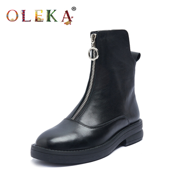 OLEKA  Mid-calf Winter Women Boots Square Heel Metal Decoration Round Toe   Fur Boots Fashion Style Motorcycle Boots  New  AS615 sophitina fashion round toe ladies boots casual metal decoration med heel shoes winter basic solid square heel women boots so203