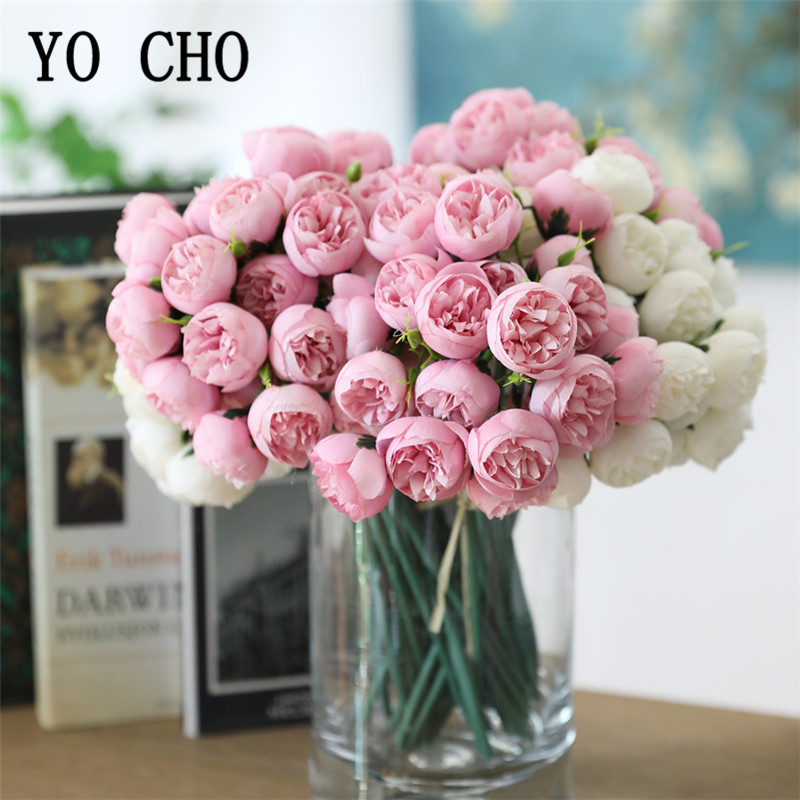 27 Heads Mini Artificial Tea Roses Silk Flowers Bridal Bouquet Roses For Wedding Party Fake Holding Flowers Bouquet Home Decor