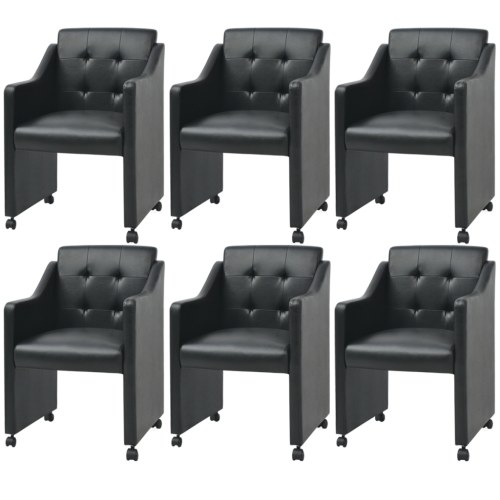 [ES Warehouse]  Dining chairs 6 units 59x57,5x86,5 cm black Free Shipping Spain Drop Shipping