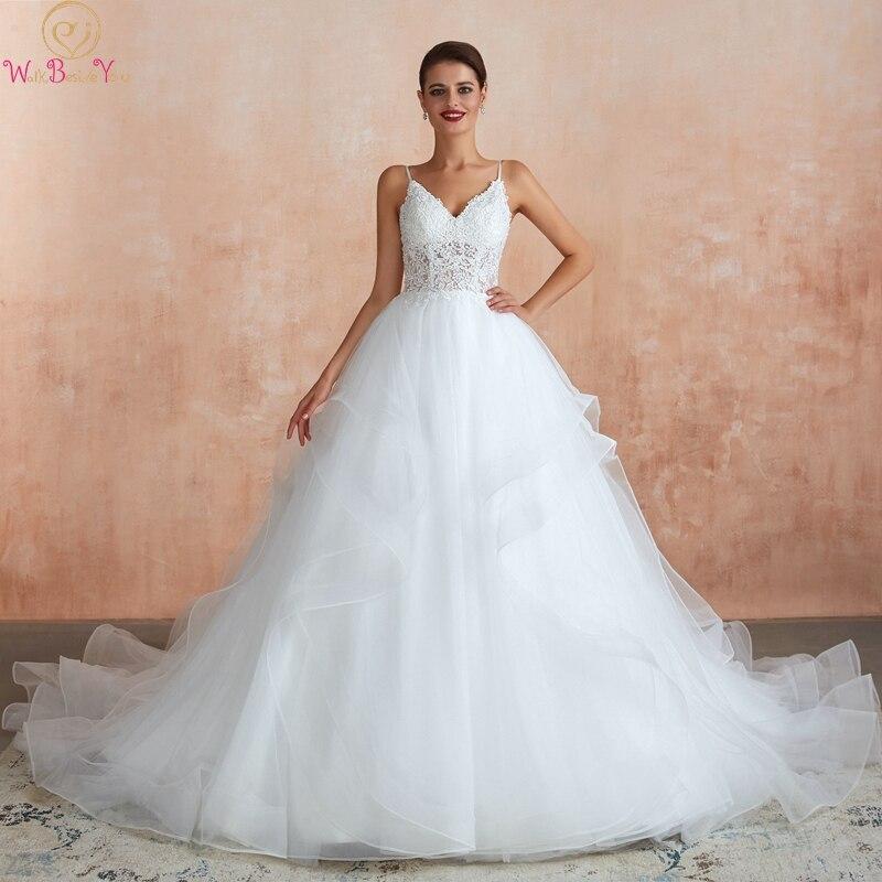 Ball Gown V Neck Wedding Dresses 2019 Spaghetti Straps Appliques Lace Ruffles Princess Bridal Gowns Backless Vestidos De Noiva