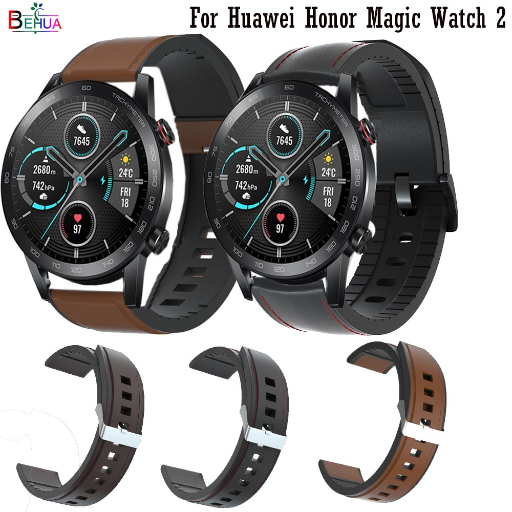 22mm Silicone +Leather Straps Wristband For Huawei Honor Magic Watch 2 Watchband For Huami Amazfit Stratos 2 2S Smart Wriststrap